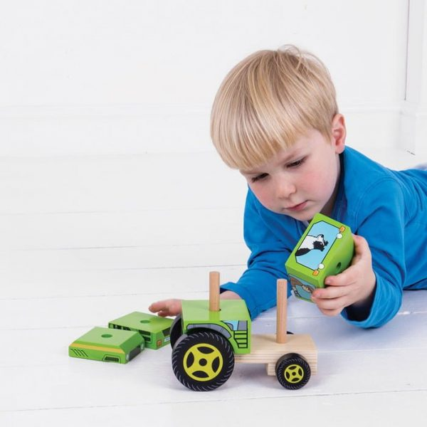 bigjigs stacking tractor play Mr Wolf