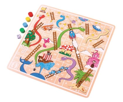 bigjigs wooden colourful snakes and ladders board four counters and dice