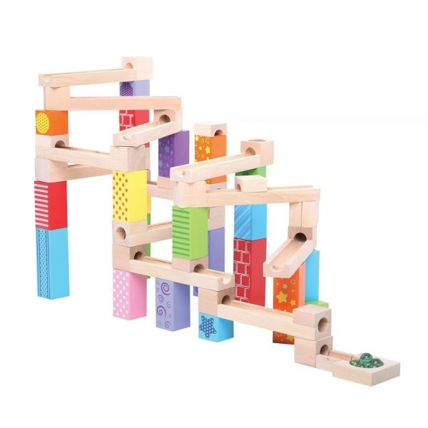 bigjigs wooden marble run full tower run display