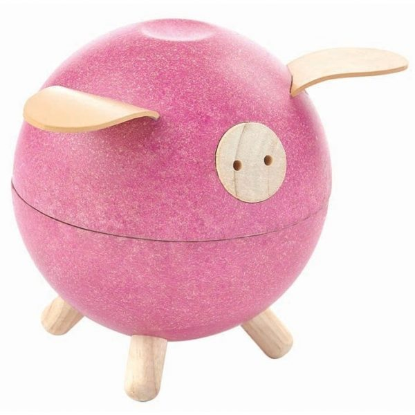 plan toys pink wooden piggy bank