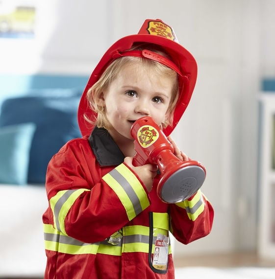 melissa and doug fire fighter costume close up child