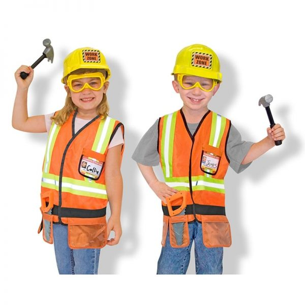 Melissa and Doug Construction Worker set modelled by girl and boy