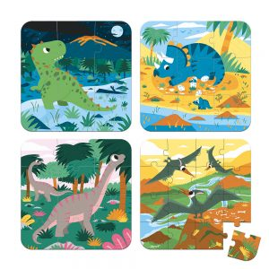Janod 4 Progressive Difficulty Puzzles Dinosaurs