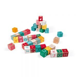 Janod Kubix 40 Letter and Number Blocks (Wood)