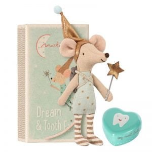 Maileg Dream and Tooth Fairy Mouse Boy in Matchbox with Tooth Tin