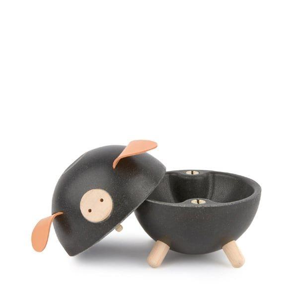plan toys black wooden piggy bank