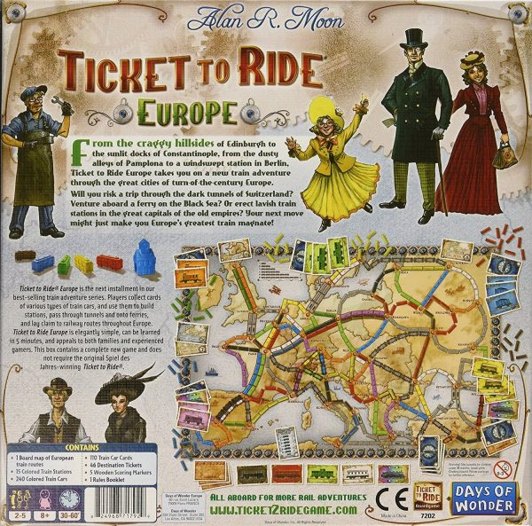 Ticket To Ride Europe - Back of Packaging