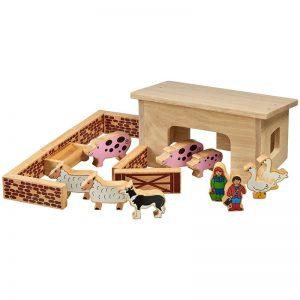 Lanka Kade Wooden Pig and Sheep Barn Set