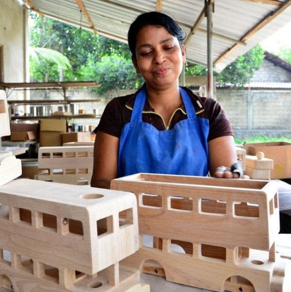 Lanka Kade Wooden Deluxe Wooden Bus in production
