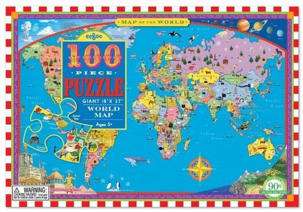 Eeboo World Map Puzzle 100pc
