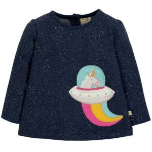 Frugi Mabel Applique Space Unicorn Top