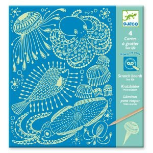 Djeco Glow Scratch Boards Sea Life