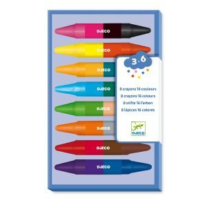 Djeco 8 Double-Ended Coloured Crayons