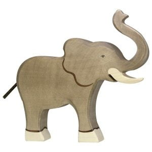 Holztiger Elephant, Trunk Raised