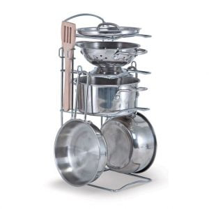Melissa and Doug Stainless Steel Pots and Pans Play Set
