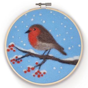 Crafty Kit Company – Robin in a Hoop Needle Felting Kit