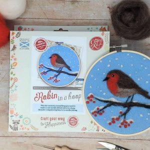 Crafty Kit Company – Robin in a Hoop Needle Felting Kit
