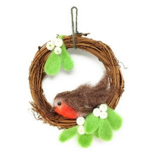 Crafty Kit Company – Christmas Robin Wreath Needle Felting Kit