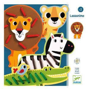 Djeco Lacing Game – Zoo Animals