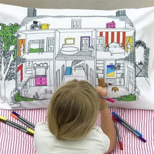 Eat Sleep Doodle Doll's House Decorator Pillowcase and Pens
