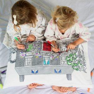 Eat Sleep Doodle Doll's House Decorator Pillowcase and Pens