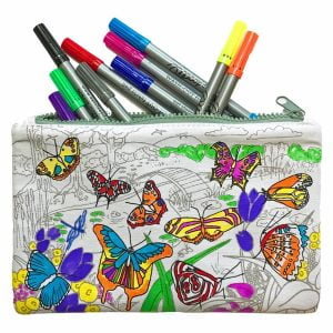 Eat Sleep Doodle Butterfly Colour In Pencil Case and Pens