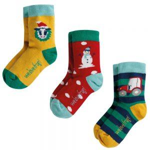 Frugi Rock My Socks Festive Friends Multipack