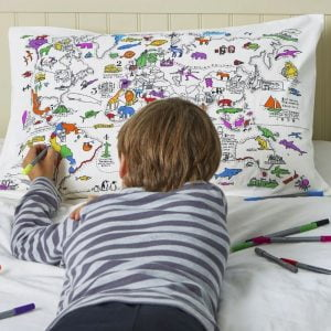 Eat Sleep Doodle World Map Pillowcase and Pens