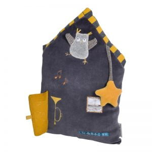 Moulin Roty Les Moustaches Activity Cushion (Dark Grey)