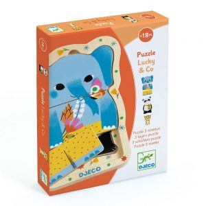 Djeco Lucky & Co. 3 Layer Wooden Puzzle