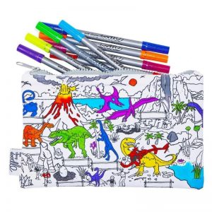 Eat Sleep Doodle Dinosaur Colour In Pencil Case and Fabric Pens